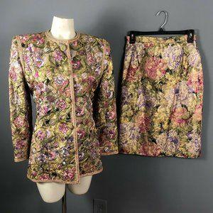 Vintage 80s Victor Costa Floral Skirt Suit